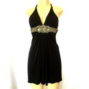 NWT SKY Mini Dress Tunic Blouse Halter Neck Chain